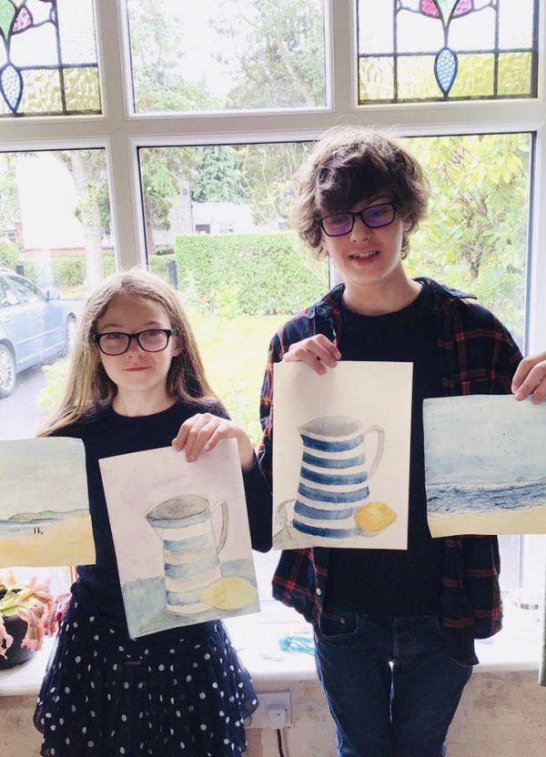 Kids Art Display From Online Art Class